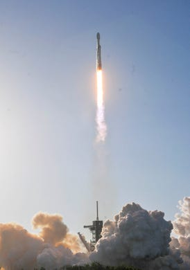A SpaceX Falcon Heavy takes off on Thursday night from Kennedy Space Center on Pad 39A. The rocket carries the communications satellite Arabsat 6A for Saudi Arabia.