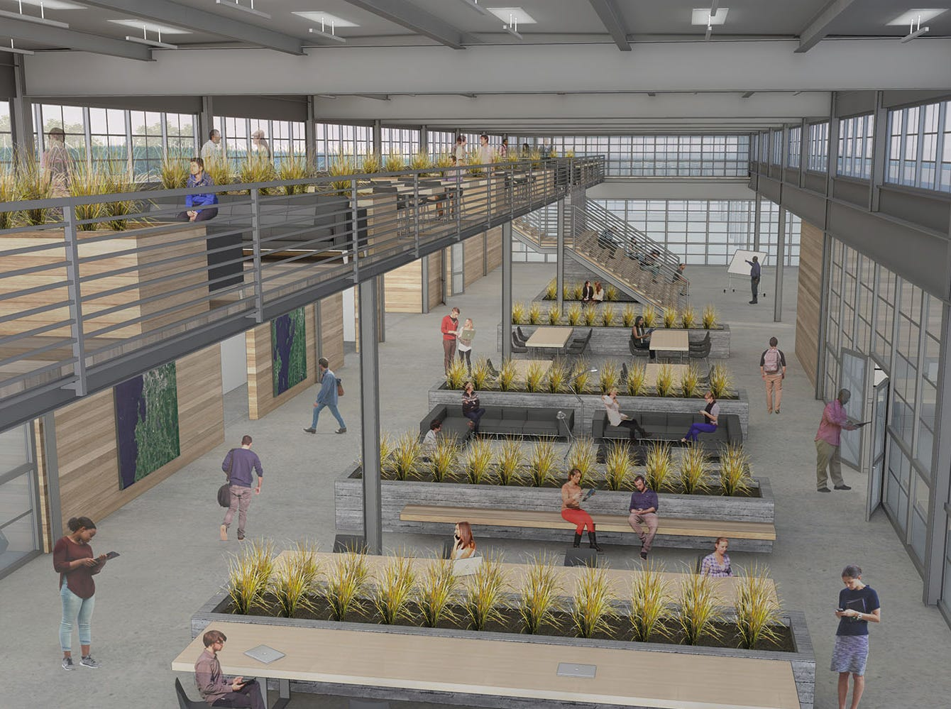 An elevated mezzanine floor is shown in this 2019 rendering of Hula Lakeside's proposed renovations to the old Blodgett Oven factory on Lakeside Avenue in Burlington