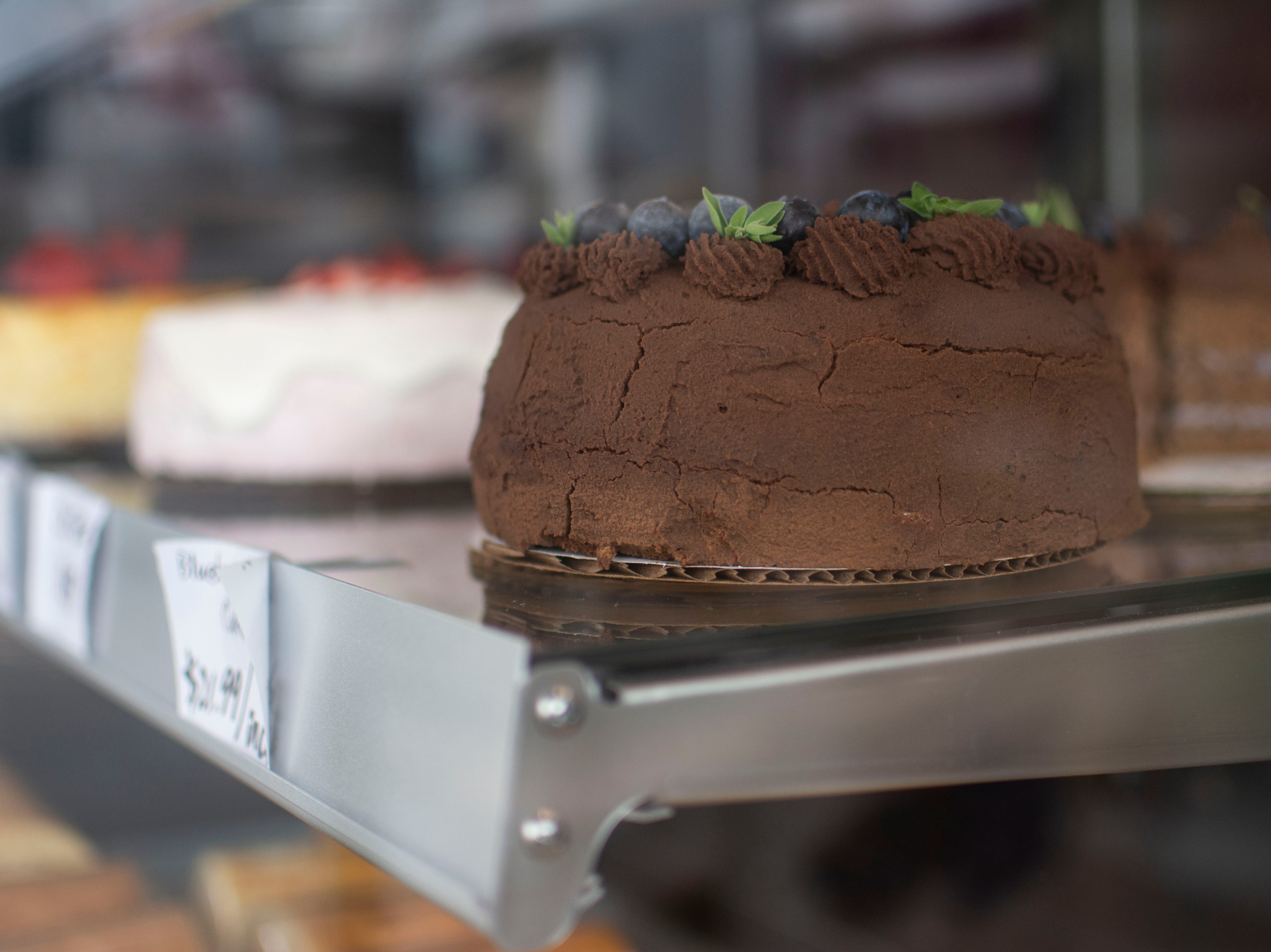 Cakes can be bought whole or by the slice at Morning Light bakery in Winooski
