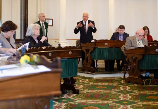 Sen. Randy Brock, R-Franklin, presents a bill in the Vermont Senate on Friday that would pay new employees up to $7,500 to move to Vermont.