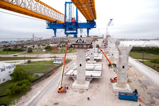 Work continues on the new Harbor Bridge Project on Friday, April 12, 2019.