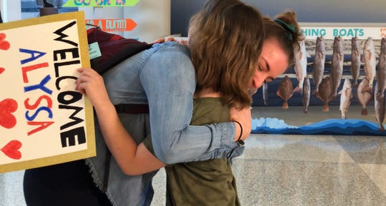 Alyssa Kohls, 25, meets Laynie Houser, 11, on April 12, 2019. Kohls is a bone marrow donor whose donation saved Houser's life.