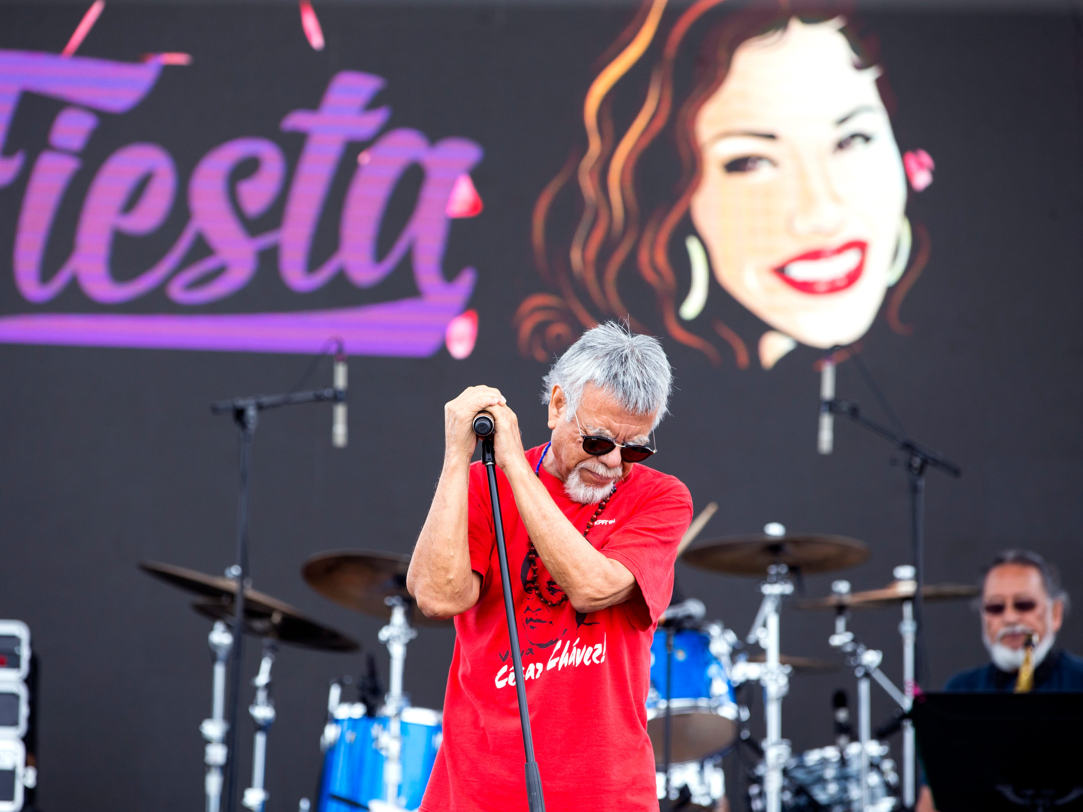 Little Joe performs during a soundcheck on Friday, April 12, 2019, at Fiesta de la Flor, a festival in honor of the late Tejano singer Selena Quintanilla-Perez. The two-day music event is held in Corpus Christi, Texas.