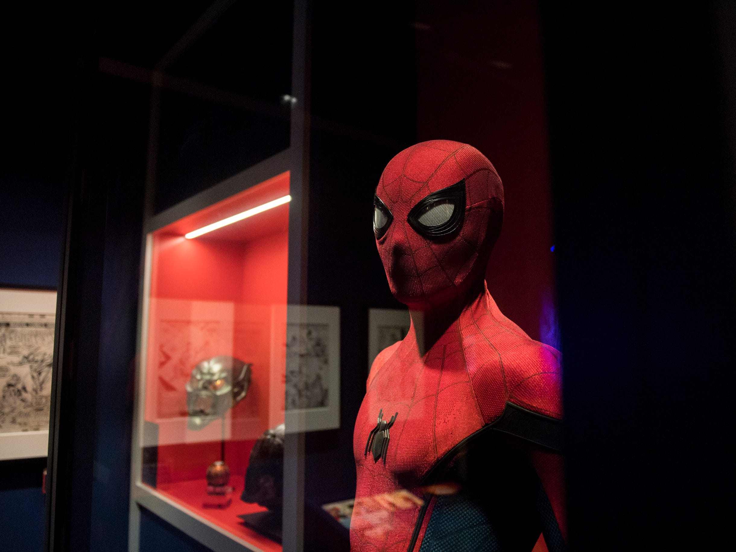 Up close with a Spider-Man costume at the new 'Marvel: Universe of Super Heroes' installation at the Franklin Institute Friday, April 12, 2019 in Philadelphia, Pa. The exhibit runs from April 13-September 2.