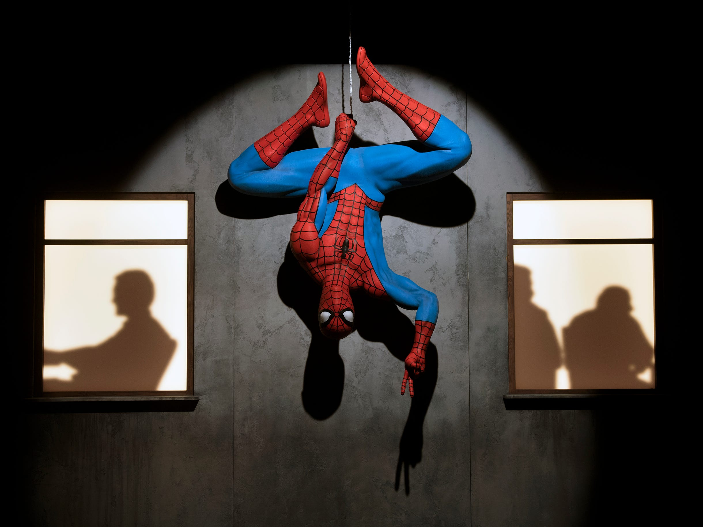 Spider-Man hangs from an exhibit at the new 'Marvel: Universe of Super Heroes' installation at the Franklin Institute Friday, April 12, 2019 in Philadelphia, Pa. The exhibit runs from April 13-September 2.