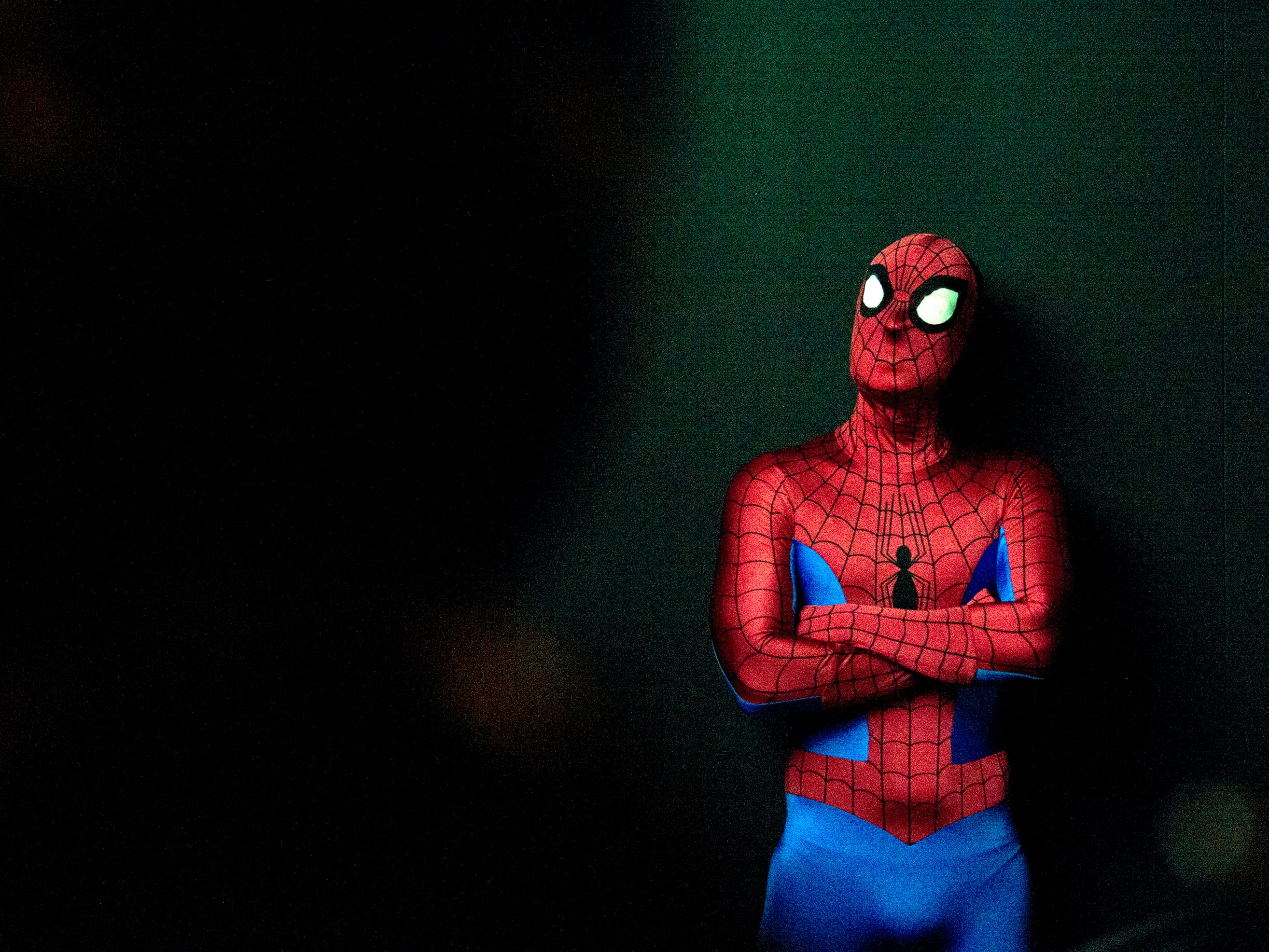 Spider-Man watches a presentation during a press conference revealing the new 'Marvel: Universe of Super Heroes' installation at the Franklin Institute Friday, April 12, 2019 in Philadelphia, Pa. The exhibit runs from April 13-September 2.
