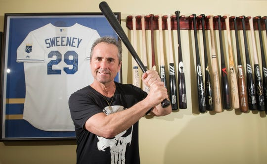 """Rob """"Pottsy"""" Potts, a former batting practice pitcher for the Philadelphia Phillies, used the lessons he learned with the Phillies to build a baseball instruction business and become one of the most respected instructors in South Jersey.  Here, Potts is shown here surrounded by sports memorabilia in his Mount Laurel home."""
