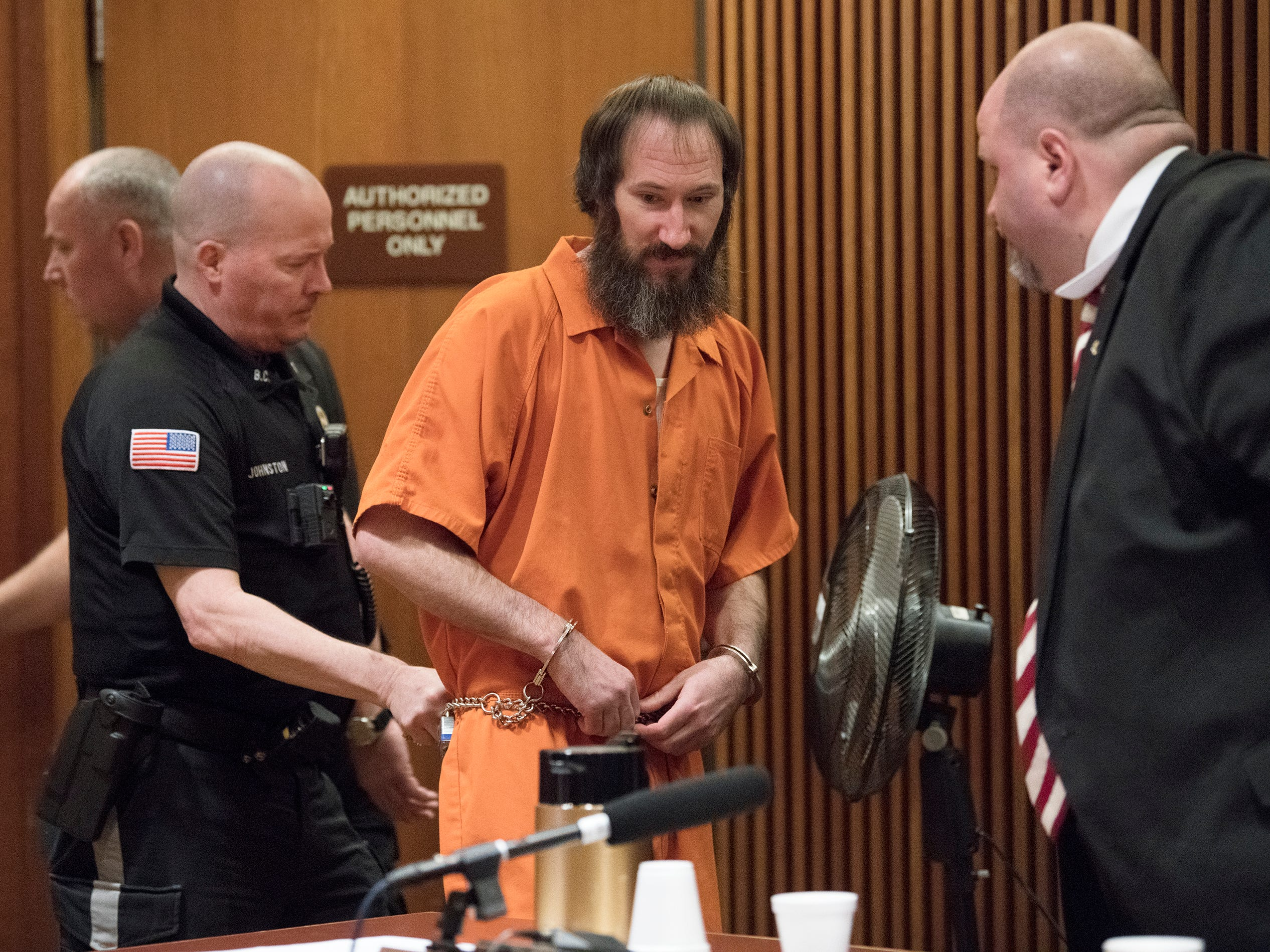 Johnny Bobbitt Jr. enters a Burlington County Superior Court courtroom to be sentenced on the charge of conspiracy to commit theft by deception on Friday, April 12, 2019.  Bobbitt received a 5-year Drug Court probationary term, including long-term in-patient treatment, for his role in a GoFundMe scam.
