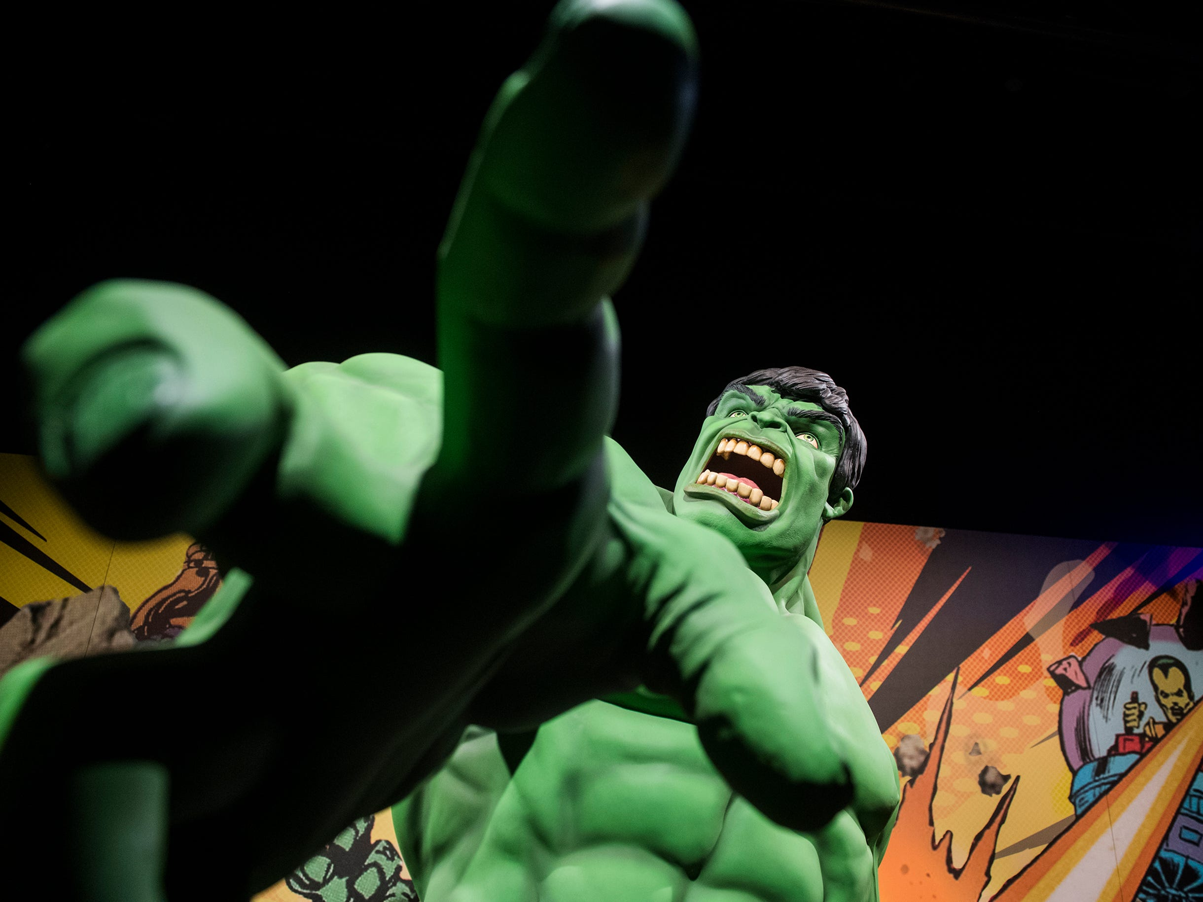 Close up with the Hulk inside the new 'Marvel: Universe of Super Heroes' installation at the Franklin Institute Friday, April 12, 2019 in Philadelphia, Pa. The exhibit runs from April 13-September 2.