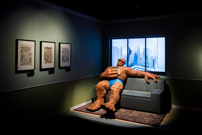 The Thing lounges inside the new 'Marvel: Universe of Super Heroes' exhibit at the Franklin Institute Friday, April 12, 2019 in Philadelphia, Pa. The exhibit runs from April 13-September 2.