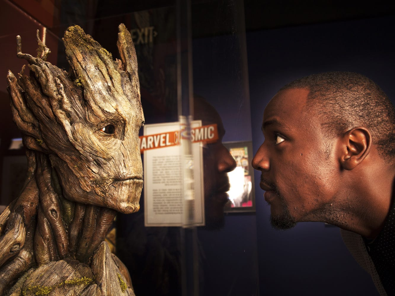 Close up with Groot at the new 'Marvel: Universe of Super Heroes' exhibit at the Franklin Institute.