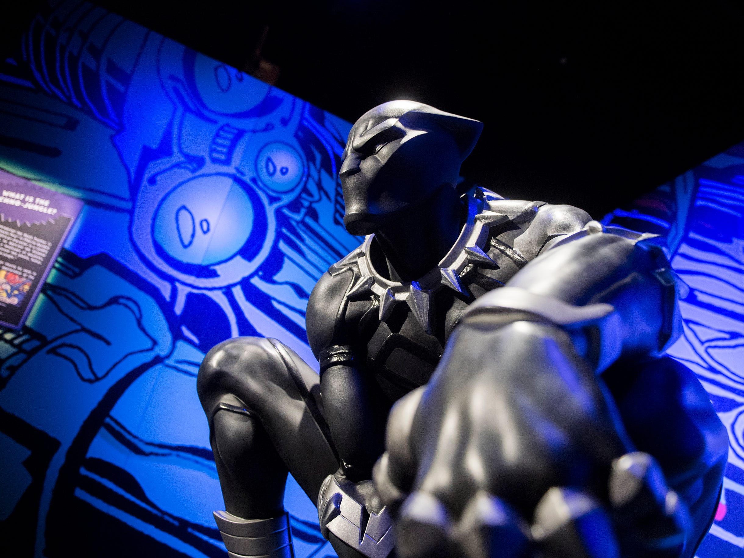 Close up with Black Panther inside the new 'Marvel: Universe of Super Heroes' exhibit at the Franklin Institute Friday, April 12, 2019 in Philadelphia, Pa. The exhibit runs from April 13-September 2.