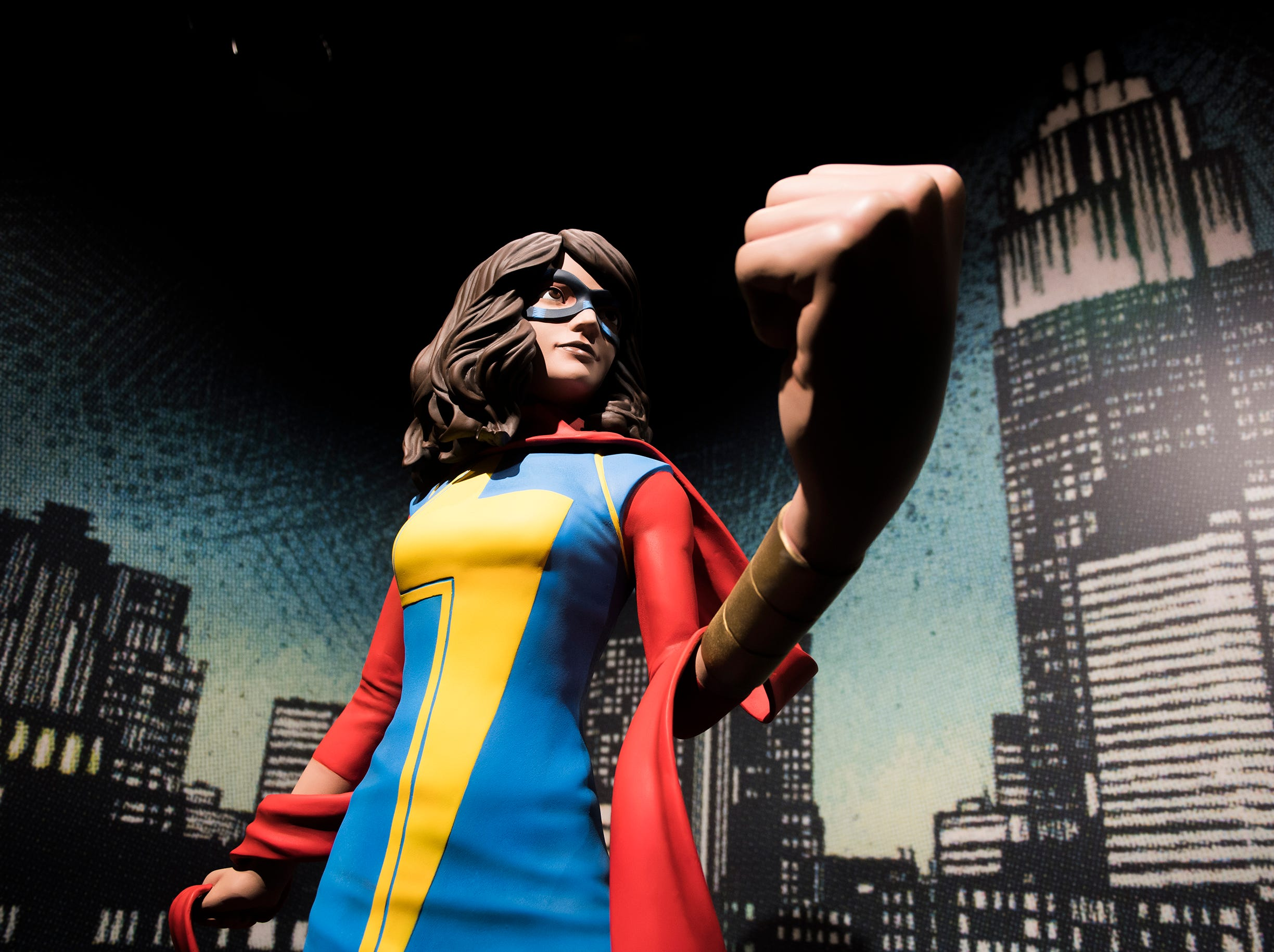 Ms. Marvel inside the new 'Marvel: Universe of Super Heroes' installation at the Franklin Institute Friday, April 12, 2019 in Philadelphia, Pa. The exhibit runs from April 13-September 2.