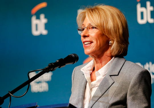 United States secretary of Education Betsy DeVos addresses the crowd during the Signing Day event at the Butler Tech in Fairfield Township, Ohio, on Friday, April 12, 2019. The Education Secretary gave a speech to the students as they prepared to sign on with their new employers as part of the event.