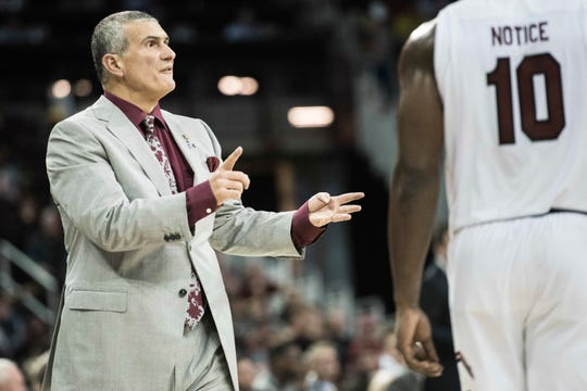 South Carolina head coach Frank Martin communicates with players during the second half of an NCAA college basketball game against Michigan Wednesday, Nov. 23, 2016, in Columbia, S.C. South Carolina defeated Michigan 61-46.