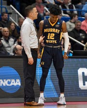 Murray State's head coach Matt McMahon talks with Murray State's Ja Morant (12) against Florida State in the NCAA tournament on March 23, 2019.