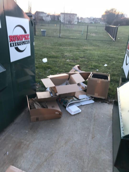 Fairfield Township officials said dumping such as this has led to a decision to remove public recycling bins at Shafer's Run Community Park.