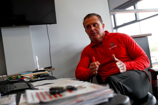 Mark Hudspeth, head football coach at Austin Peay State University, sits down for an interview and portraits with the Leaf-Chronicle at Fortera Stadium in Clarksville, Tenn., on Friday, April 12, 2019.