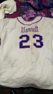 "The jersey belonging to Rockets assistant manager Charles Robert ""Duck"" Garnett. From the collection of his son, Jason Garnett."