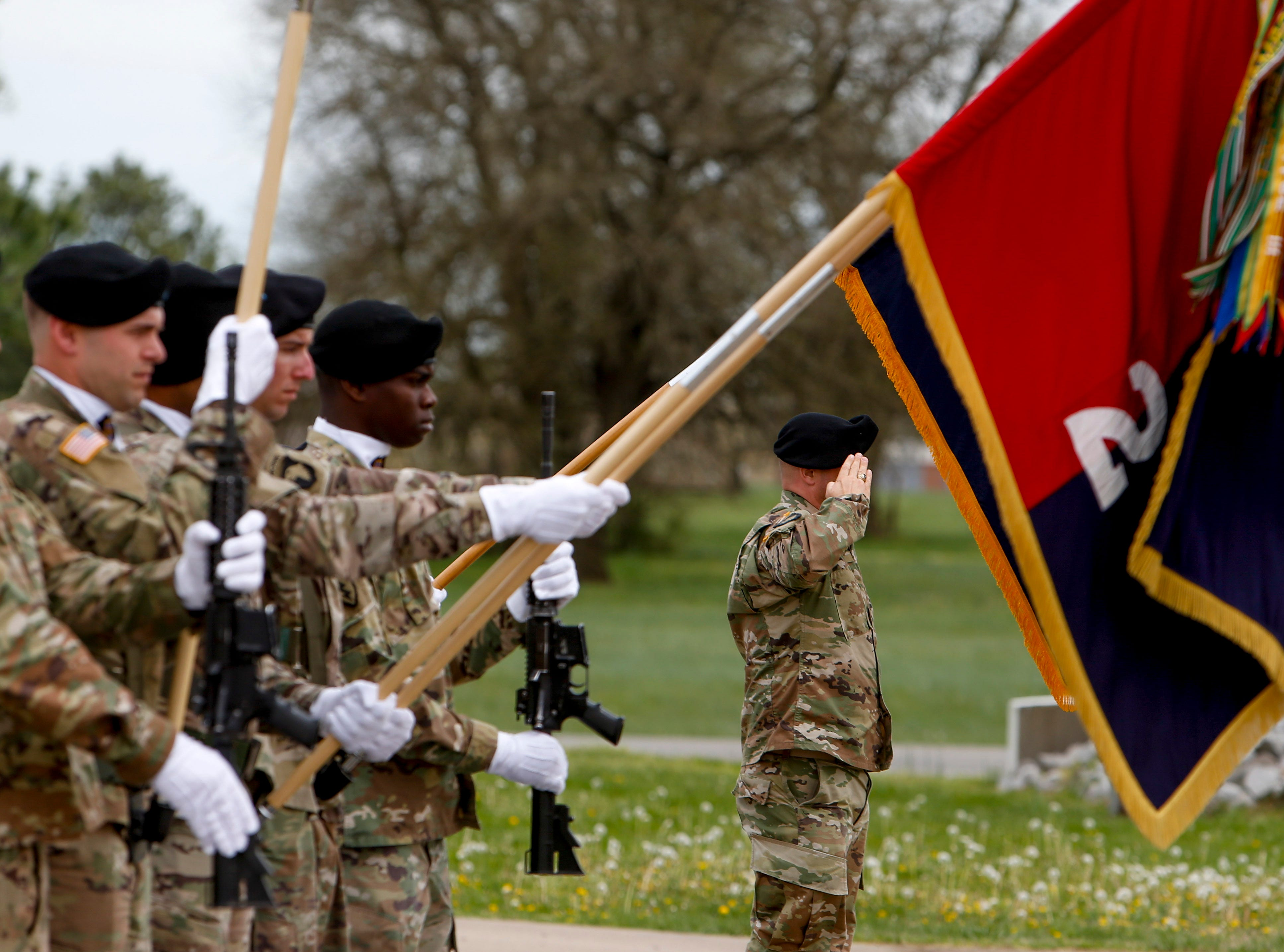 The colors are presented by the color guard during a colors casing ceremony prior to deployment for Ukraine at 2 BCT Headquarters in Fort Campbell, KY., on Friday, April 12, 2019.