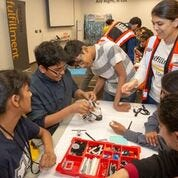 Amazon celebrates National Robotics Week with local middle schools at Edison fulfillment center