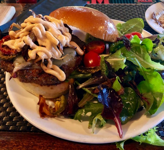 The Spicy @$$ Burger at Rocky Hill Inn.