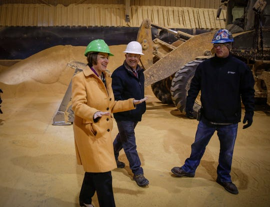 U.S. Sen. and current democratic presidential candidate hopeful Amy Klobuchar talks with Chris Cleveland, far right, product manager at Lincoln Way Energy, and president Mike Hollenberg during a tour of the plant in Nevada on Friday, April 12, 2019.
