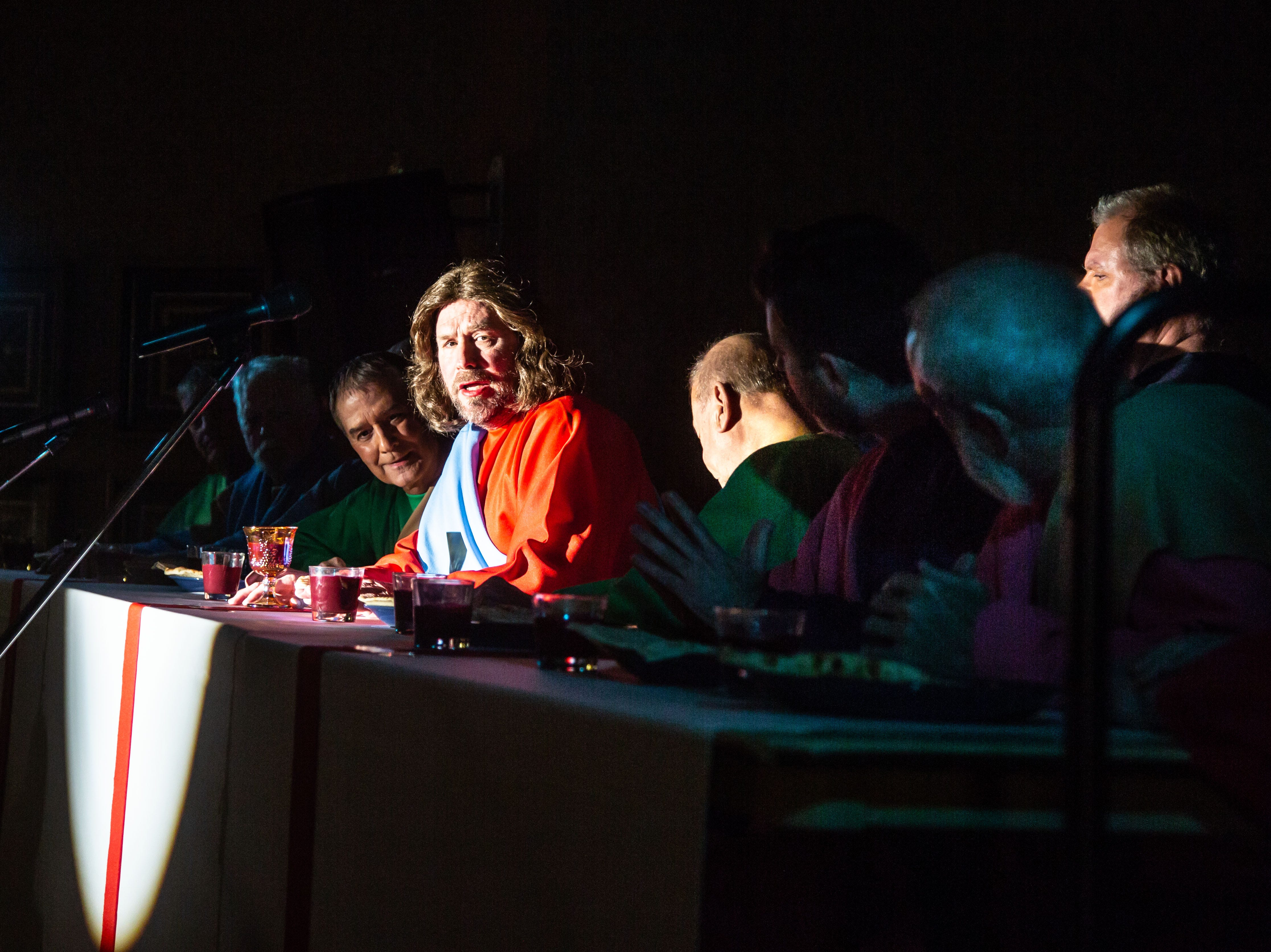 Kent Risbeck, center, plays Jesus during the living dramatization of Leonardo Da Vinci's The Last Supper at Edgewater in West Des Moines Wednesday, April 10, 2019.