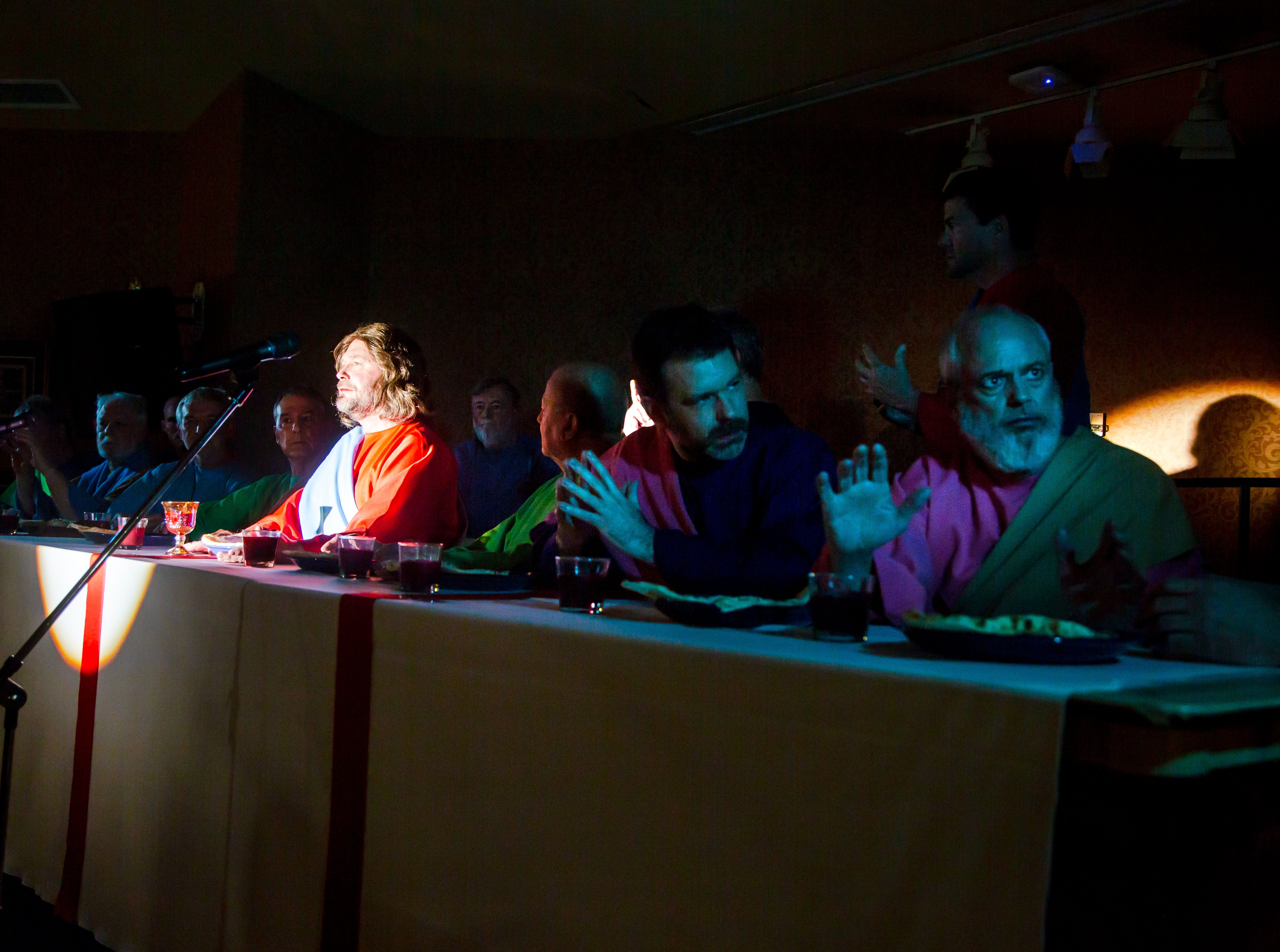Kent Risbeck plays Jesus during the living dramatization of Leonardo Da Vinci's The Last Supper at Edgewater in West Des Moines Wednesday, April 10, 2019.