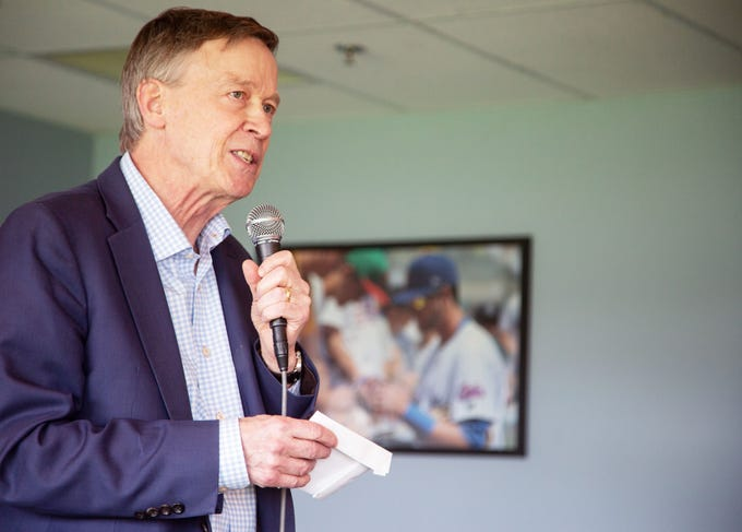 Governor John Hickenlooper speaks during a discussion on alternatives to nationalized health care hosted by the Progressive Policy Institute at the Cub Club Friday, April 12, 2019.