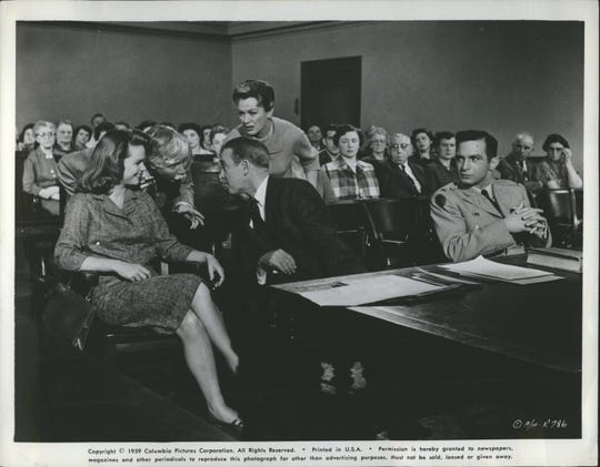 "Lee Remick, James Stewart and Ben Gazzara in ""Anatomy of a Murder."""
