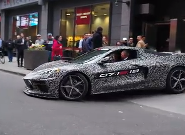 The new mid-engine Chevrolet Corvette made its first public appearance as GM CEO Mary Barra and chief engineer Tadge Juechter cruised about New York City.