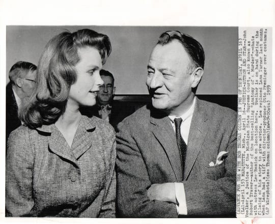 "Actress Lee Remick with Michigan Supreme Court Justice John Voelker, who wrote ""Anatomy of a Murder"" under that pen name  Robert Traver."