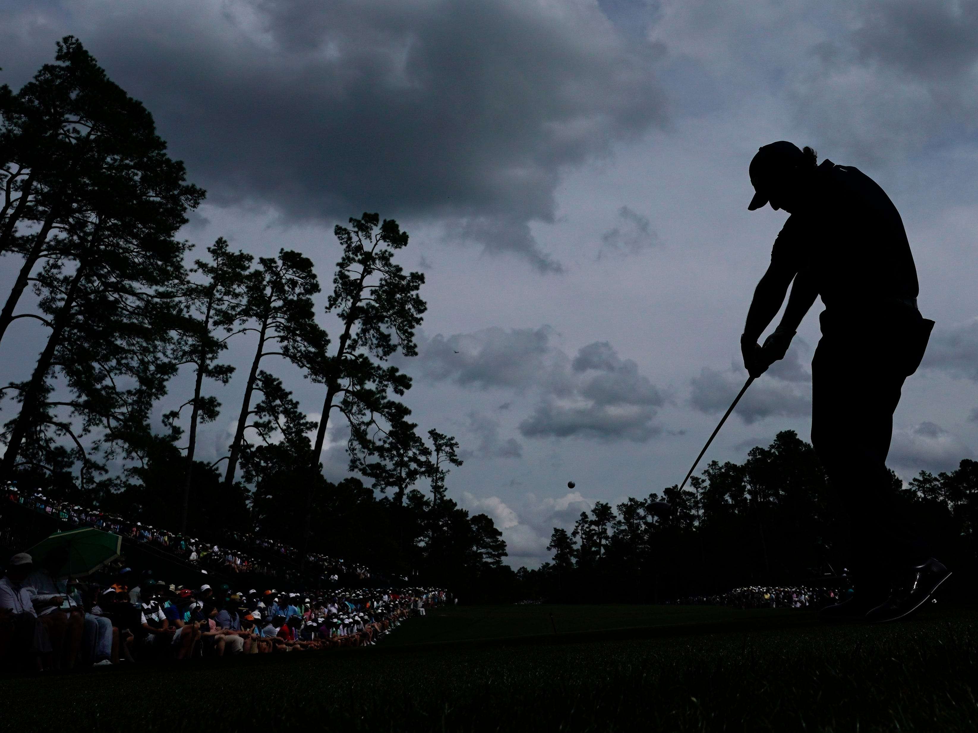Phil Mickelson hits a drive on the 14th hole during the second round for the Masters golf tournament Friday, April 12, 2019, in Augusta, Ga.