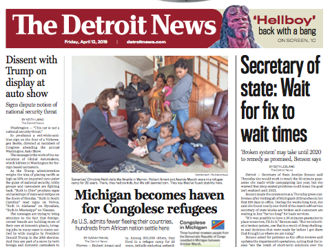 The front page of The Detroit News on Friday, April 12, 2019.