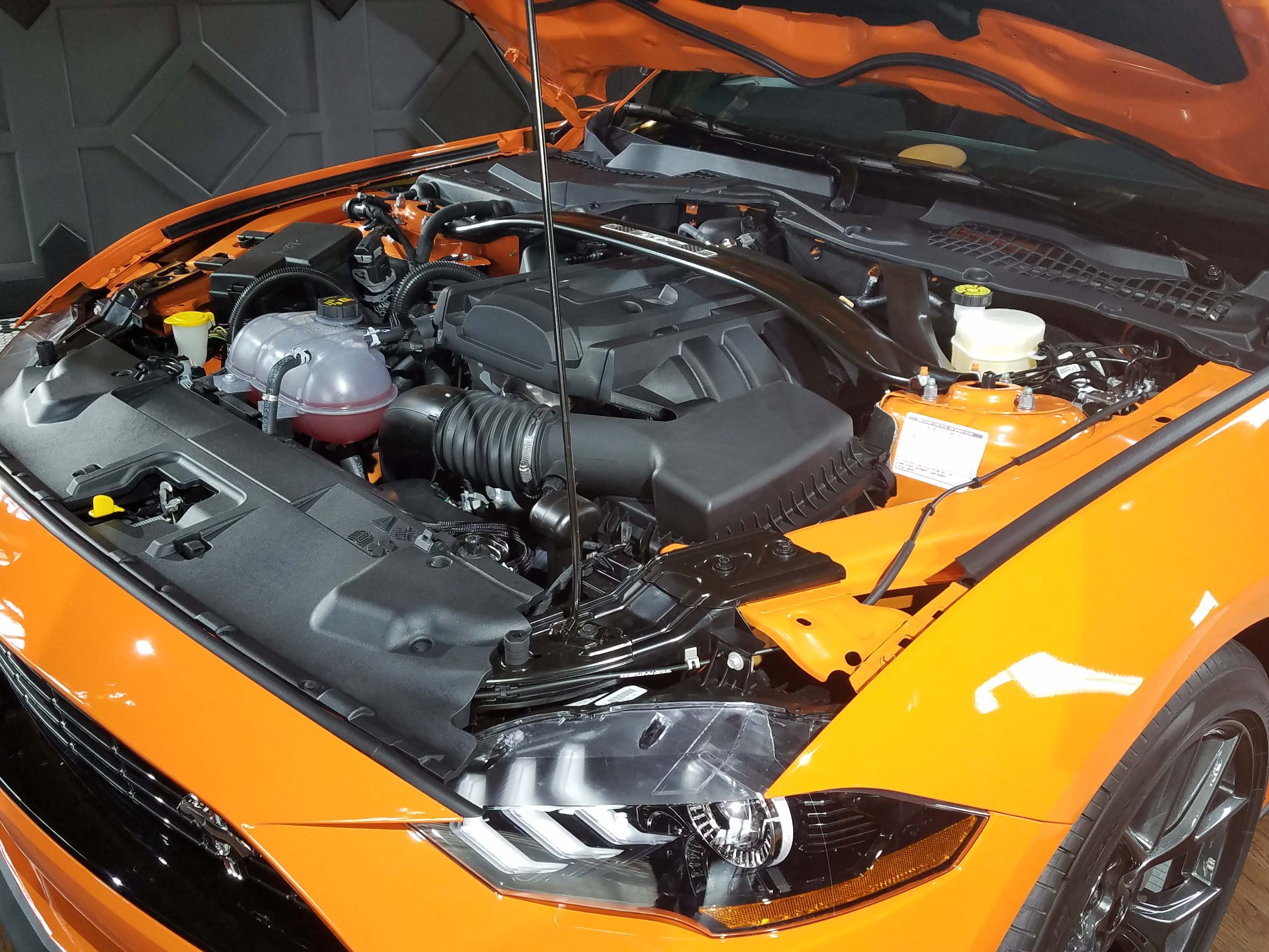 The Ford Mustang Ecoboost High Performance takes the 350-horse, tranverse, turbo-4 engine from the AWD Ford Focus RS and stuffs it under the hood as a 330-horse, rear-wheel drive mill.