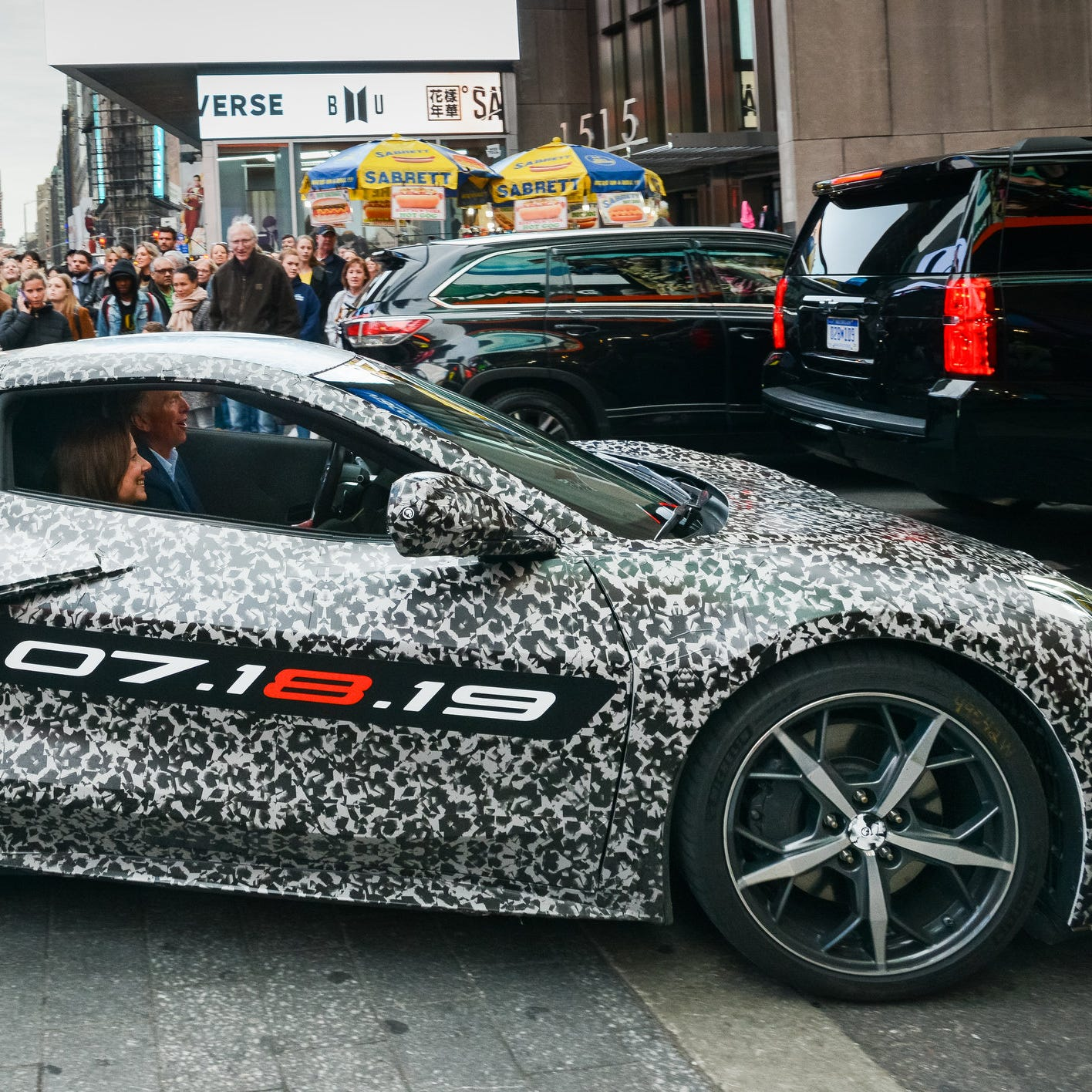 Mid-engine, camou Corvette takes Times Square by storm, debuts July 18