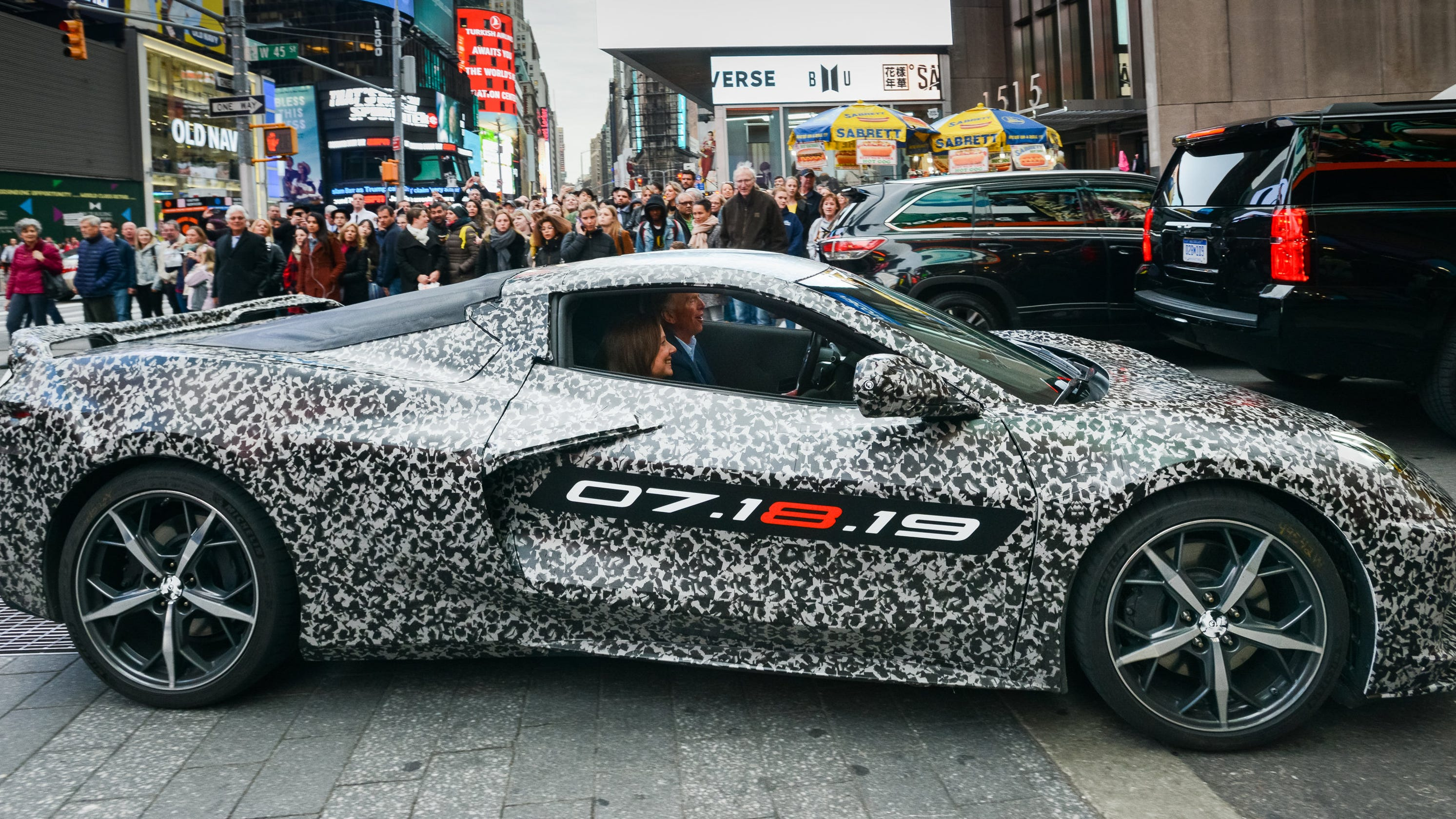 Mid Engine Camou Corvette Takes Times Square By Storm Debuts July 18