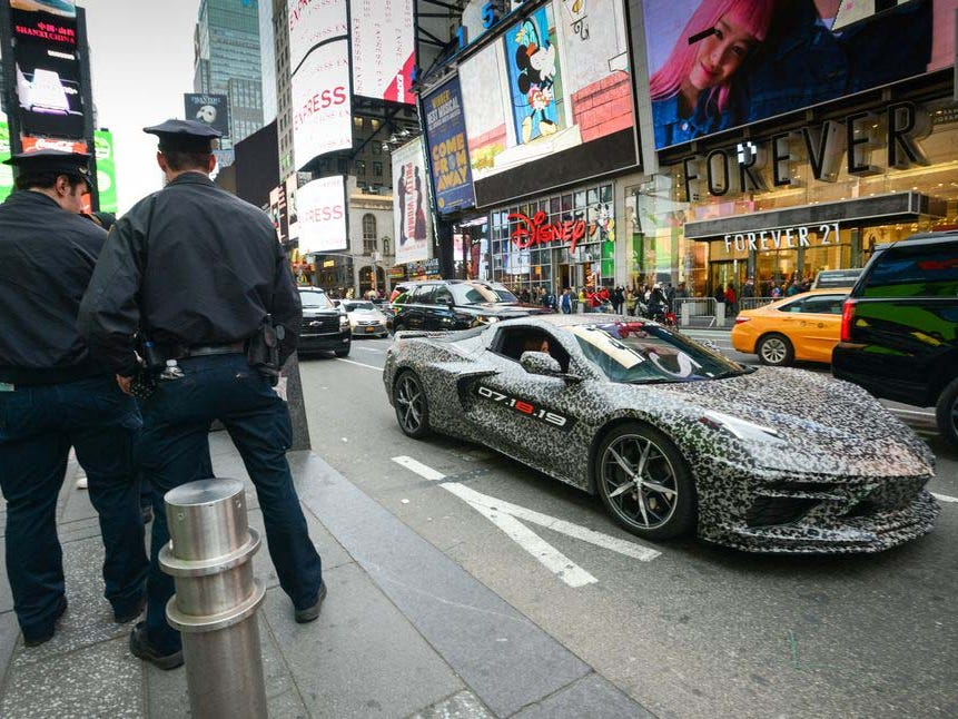 A mid-engine Corvette in camouflage stopped traffic in NYC Thursday night.