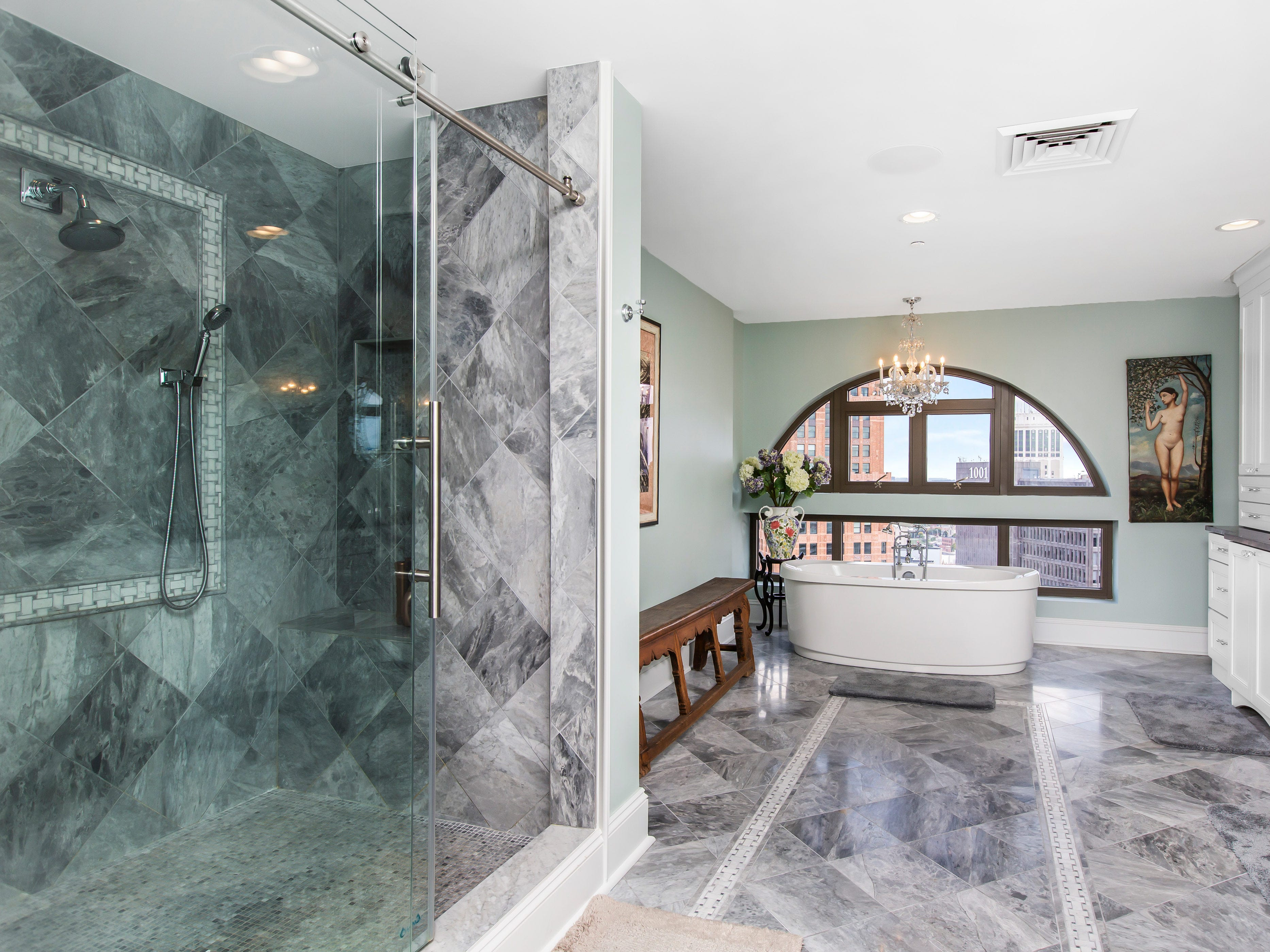 This is another shower with a separate bathtub.