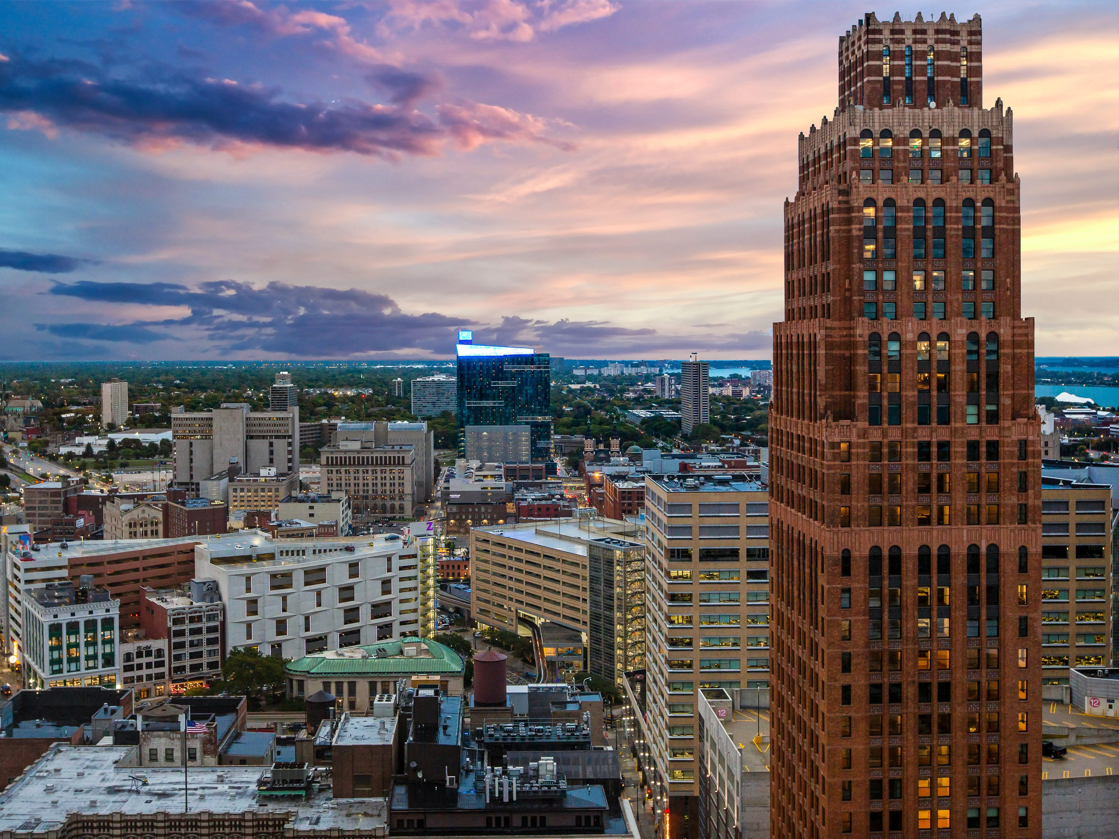 The view of the Detroit skyline is absolutely stunning from this penthouse condo at the top of the Westin Book Cadillac hotel building.