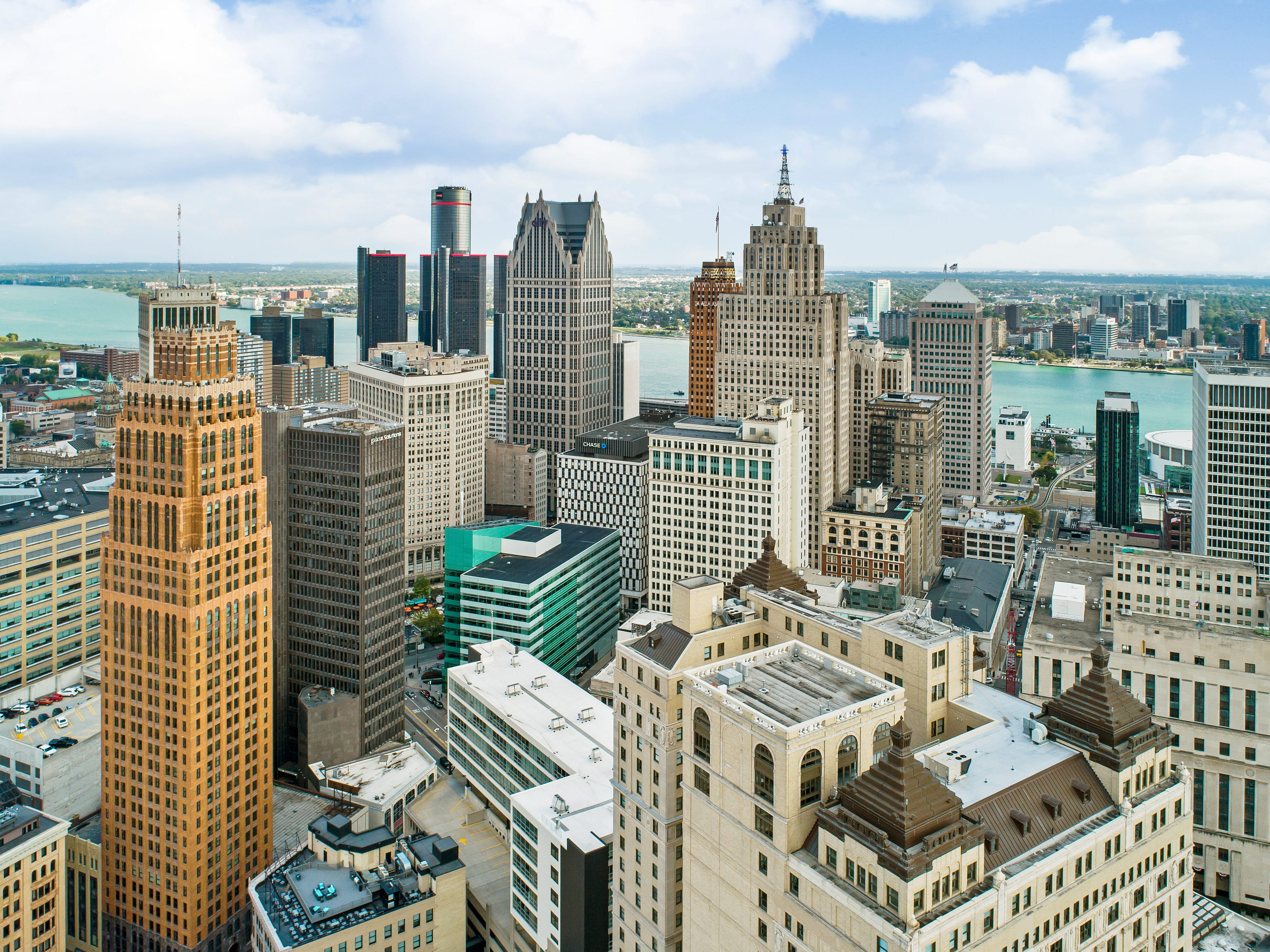 This aerial view shows the three-story penthouse condo at the top of the Westin Book Cadillac hotel building in downtown Detroit.