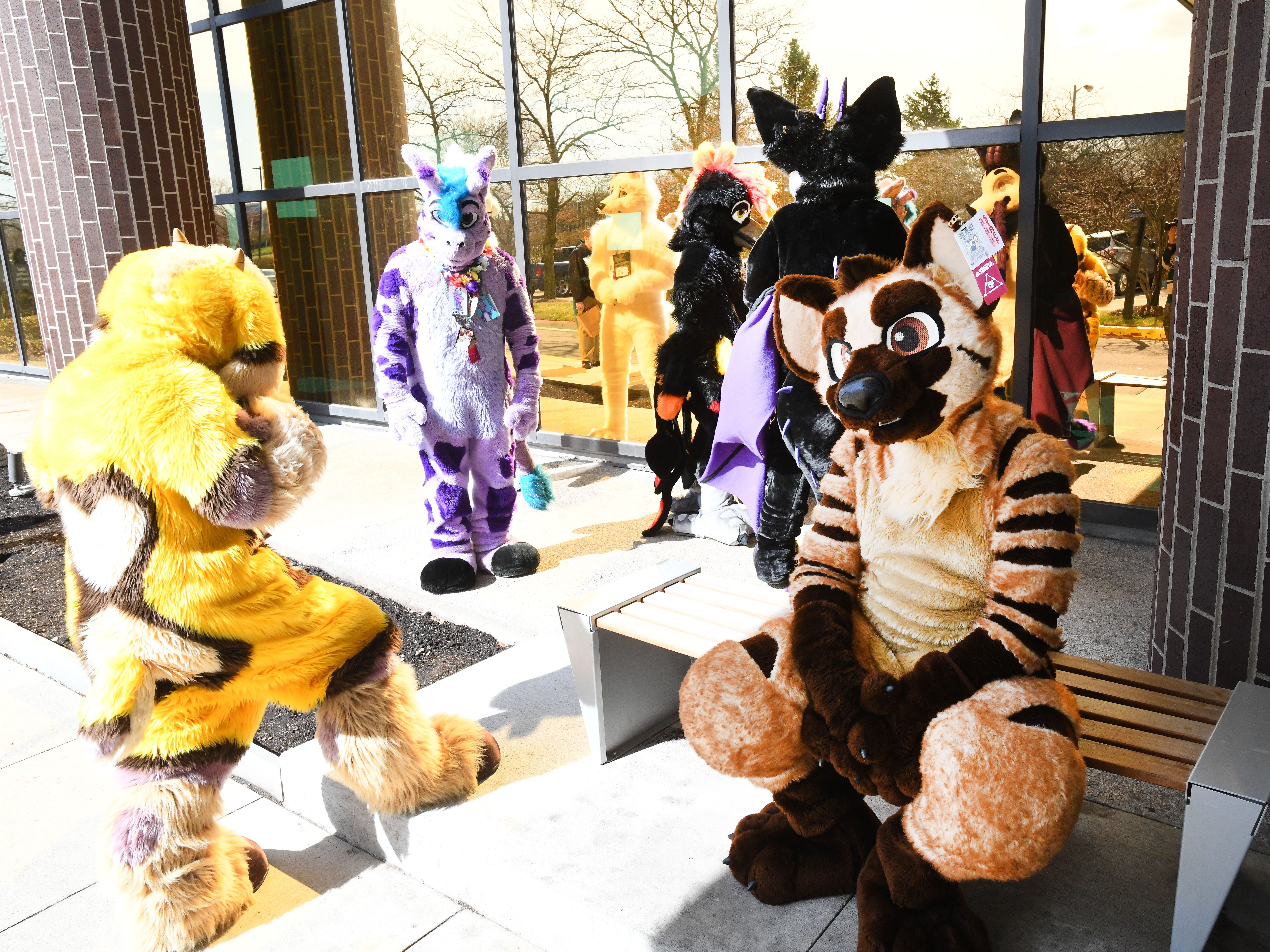 Furries gather outside the 2019 Motor City Furry Con at the Westin Detroit-Southfield in Southfield, Michigan on April 12, 2019.