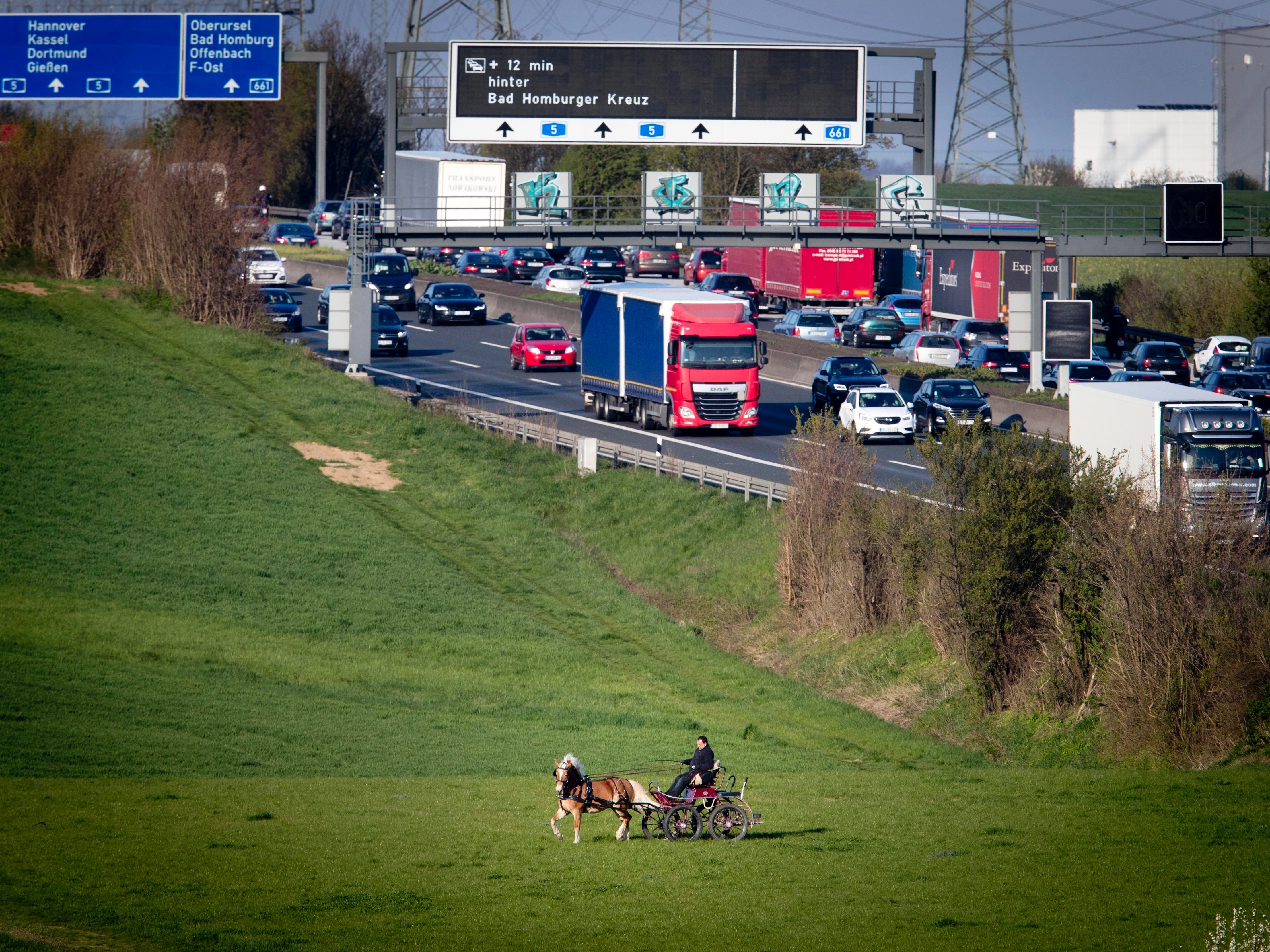 A man rides his horse and carriage over a meadow near the highway in Frankfurt, Germany, Thursday, April 11, 2019.