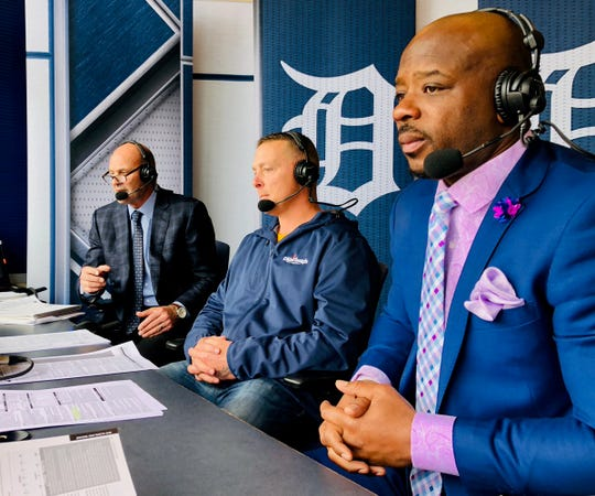 Kirk Gibson, from left, Brandon Inge and Craig Monroe work a Tigers broadcast earlier in the season.