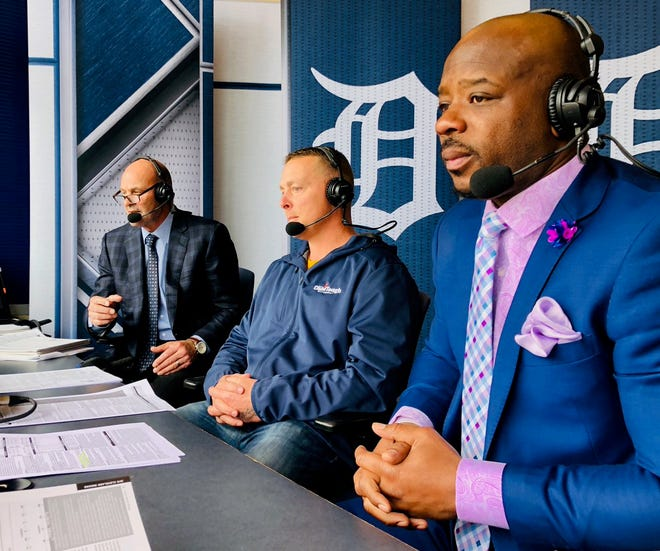 Kirk Gibson, from left, Brandon Inge and Craig Monroe work Thursday's Tigers broadcast.