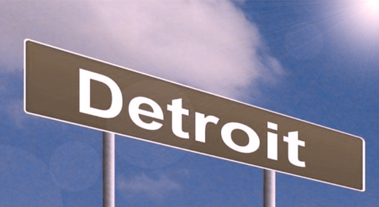 Detroit sign as seen by someone with deuteranopia.