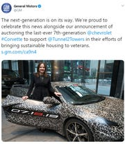 General Motors revealed the fabled mid-engine Corvette with a drive to the New York Auto Show and a tweet.
