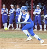 Kendal Cook bunts for Horseheads against Elmira on April 11, 2019 at Ernie Davis Academy.