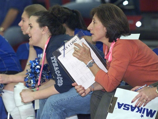 Horseheads volleyball coach Patti Perone watches her team play against Ward Melville in the 2005 Class AA state final at Oneonta State.